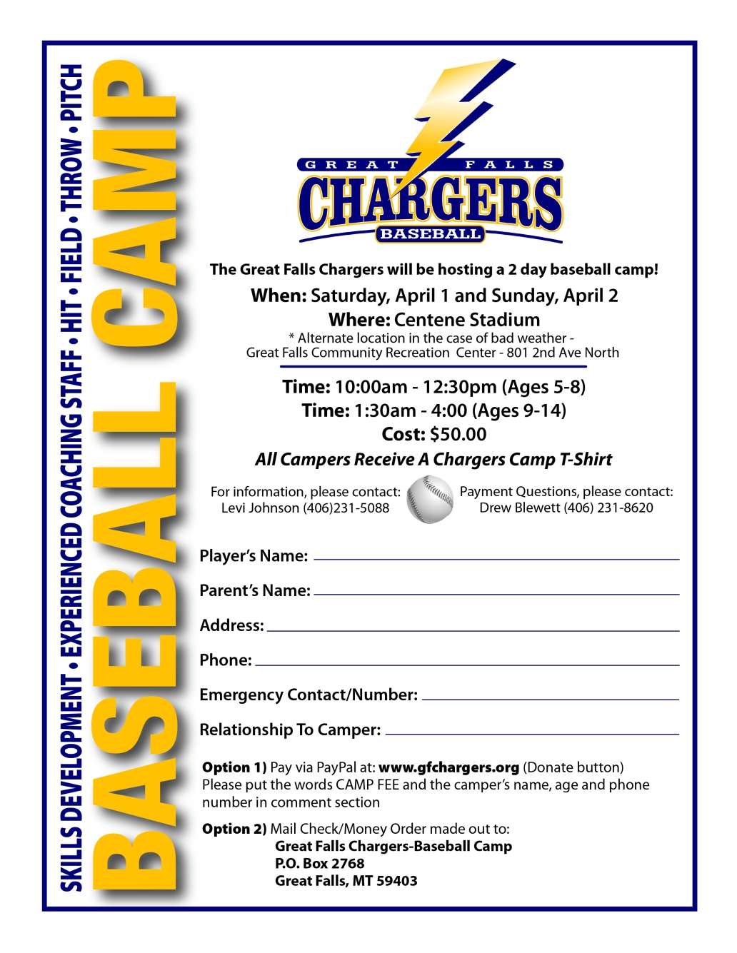 2017 Chargers Camp Flyer