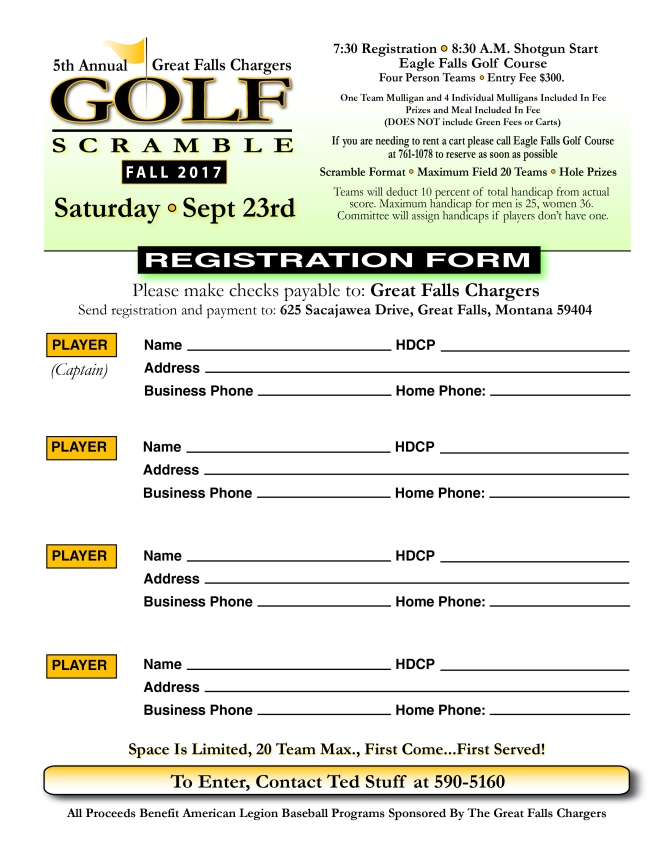 Entry Form 2017 Golf Tourney