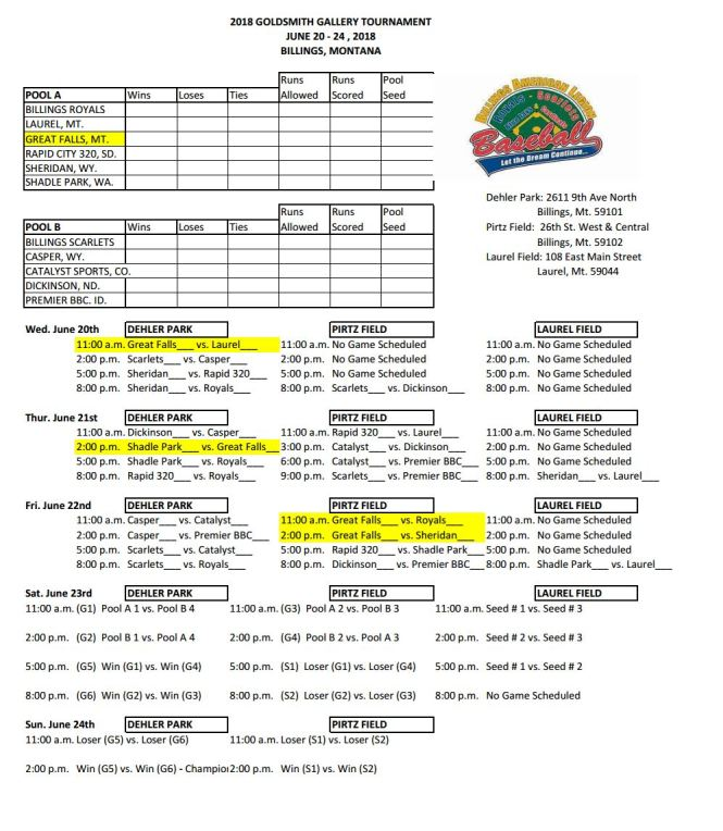 2018 Goldsmith - Billings tourny schedule - rev2
