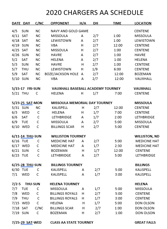 Chargers 2020 schedule